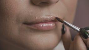 应用在模型的嘴唇的接近的观点的专业化妆师唇膏 股票视频
