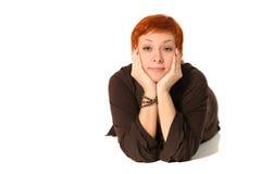 应用的作用过滤头发红色妇女 免版税库存图片