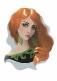 应用的作用过滤头发红色妇女 图库摄影