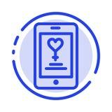 应用程序,机动性,爱,恋人蓝色虚线线象 向量例证