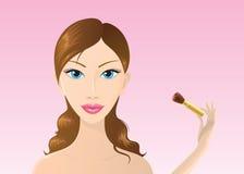 应用美丽的胭脂妇女 库存图片