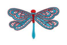 应用蓝色蜻蜓 在白色的孤立 免版税库存图片