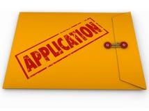 应用黄色信封递交申请工作信用批准 免版税库存图片