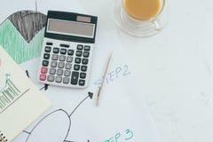 应计额 笔记本和笔与计算器在书桌财务 免版税图库摄影