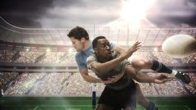 应付为球的严肃的橄榄球球员 库存例证