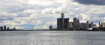 底特律、密执安、温莎、安大略和大使Bridge 库存图片