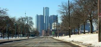底特律地平线马达城市高楼在密执安 库存图片