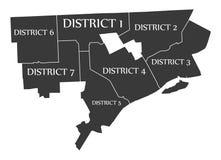 底特律密执安市地图美国标记了黑例证 免版税库存图片