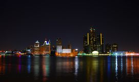 底特律密执安晚上 免版税库存照片