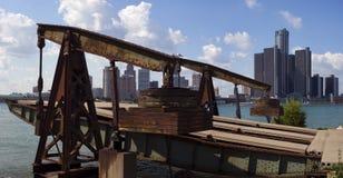 底特律市地平线全景被采取在从Wi的白天 库存图片