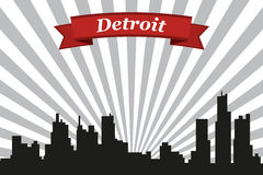 底特律市地平线有光芒背景和丝带 向量例证