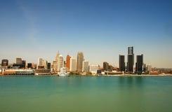底特律江边 免版税库存图片