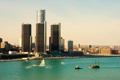 底特律河边区 库存照片