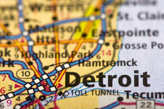 底特律,地图的密执安 库存图片