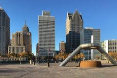 底特律,密执安地平线 免版税库存照片