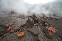 底部火山口 库存图片