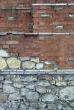 底部砖褐色纹理顶层墙壁黄色 图库摄影