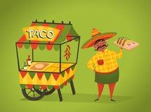 店主卖在街道上的炸玉米饼 墨西哥食物 库存照片