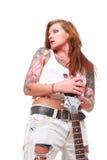 庞克摇滚乐吉他弹奏者女孩 免版税库存照片