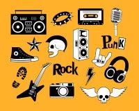 庞克摇滚乐在黄色背景集合的音乐传染媒介 设计元素、象征、徽章、商标和象 免版税库存照片