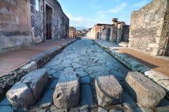 庞贝城街道,意大利。 免版税库存照片