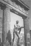 庞贝城铅笔图,阿波罗古老罗马雕象  向量例证