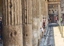 庞贝城,古老罗马城市废墟  波纳佩,褶皱藻属 意大利 免版税图库摄影