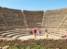 庞贝城,古老罗马城市废墟  波纳佩,褶皱藻属 意大利 免版税库存照片