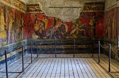 从庞贝城奥秘` s别墅的壁画  免版税库存图片