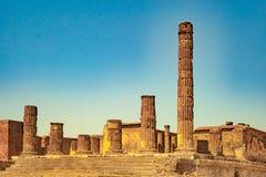 庞贝城著名古色古香的站点,在那不勒斯附近 图库摄影