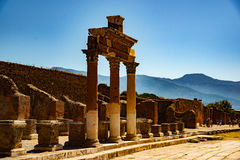 庞贝城著名古色古香的站点,在那不勒斯附近 免版税库存照片