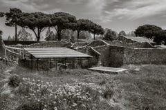 庞贝城,意大利废墟的看法  免版税库存照片
