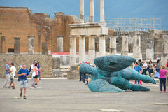 庞贝城,意大利- 6月01 :在维苏威的爆发的以后庞贝城废墟在庞贝城, 2016年6月01日的意大利 免版税库存图片