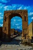 庞贝城,那不勒斯,意大利古老废墟的惊人的看法  免版税库存图片