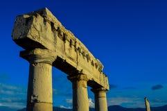 庞贝城,那不勒斯,意大利古老废墟的惊人的看法  免版税图库摄影