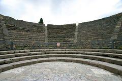 庞贝城, odeion,小剧院的看法 免版税库存照片