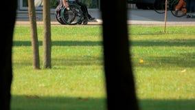 废人骑马轮椅在公园 图库摄影