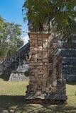 废墟、金字塔和寺庙在奇琴伊察,尤加坦,墨西哥 库存照片