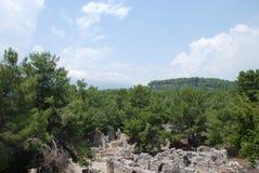 废墟和废墟在土耳其的森林的绿色植被中被保存在安塔利亚附近的 库存图片