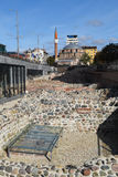 废墟和Banya Bashi清真寺在索非亚 库存图片