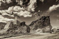废墟和Basgo修道院、Leh、拉达克、查谟&克什米尔,印度 免版税库存照片