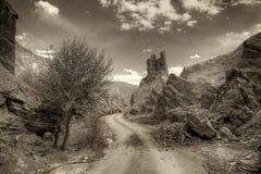 废墟和Basgo修道院, Leh,拉达克,查谟和克什米尔,印度 免版税图库摄影