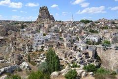 废墟在卡帕多细亚地区, Ortahisar 免版税库存照片