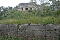 废墟在古老玛雅站点乌斯马尔,墨西哥 库存照片
