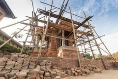 废墟在地震以后的加德满都市Bhaktapur 2017年12月 免版税库存图片