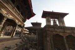 废墟在地震以后的加德满都,市Bhaktapur 2018年12月2017 库存照片