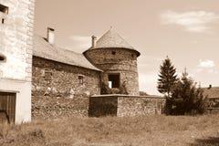 废墟在罗马尼亚村庄 在中世纪宫殿的意想不到的视觉的重建在村庄Racos,特兰西瓦尼亚 免版税库存图片