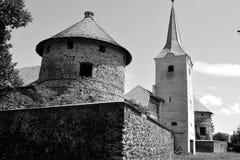 废墟在罗马尼亚村庄 在中世纪宫殿的意想不到的视觉的重建在村庄Racos,特兰西瓦尼亚 库存照片