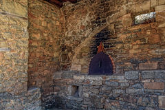 废墟在被放弃的麻疯病患者殖民地史宾纳隆加岛,克利特 库存图片