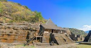 废墟在Malinalco,考古学站点在墨西哥 库存图片
